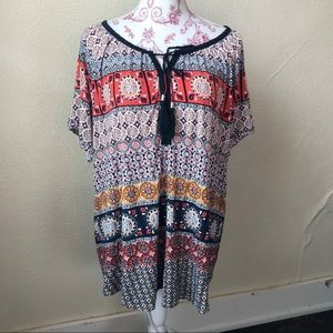 Dress Barn Tasseled Tie Neck Peasant Blouse 2XL